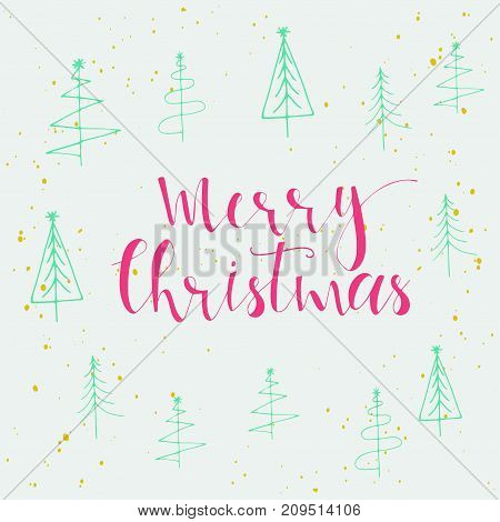 Merry Christmas Lettering And Calligraphy Design. Greeting Card Template.