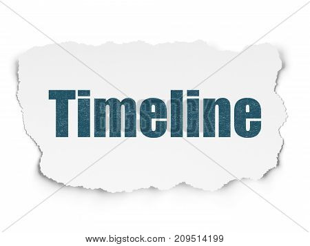 Time concept: Painted blue text Timeline on Torn Paper background with Scheme Of Hexadecimal Code