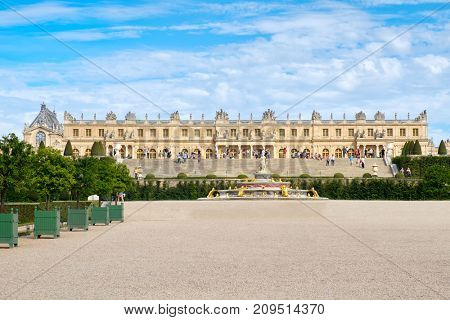 The royal Palace of Versailles near Paris in France on a beautiful summer day