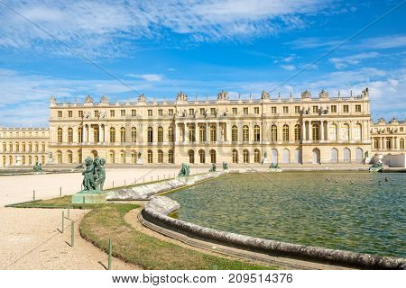 The royal Palace of Versailles near Paris on a sunny summer day