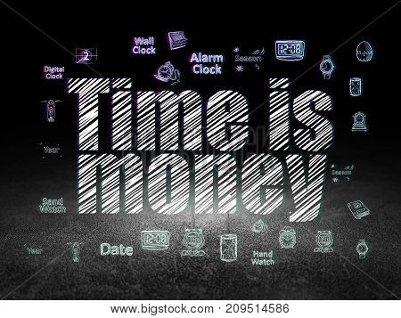 Time concept: Glowing text Time is Money,  Hand Drawing Time Icons in grunge dark room with Dirty Floor, black background