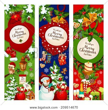 Christmas holiday celebration banner. Xmas tree, gift and holly berry wreath with ball, bell, candy cane, candle and snowman, red sock, snowflake, gingerbread and calendar for greeting card design