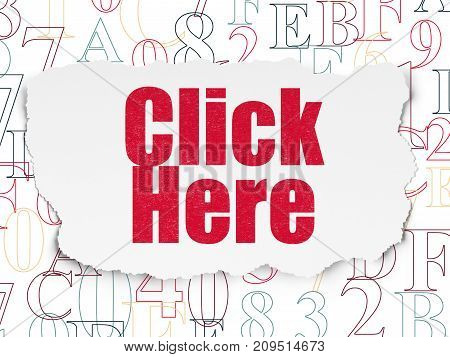 Web design concept: Painted red text Click Here on Torn Paper background with  Hexadecimal Code
