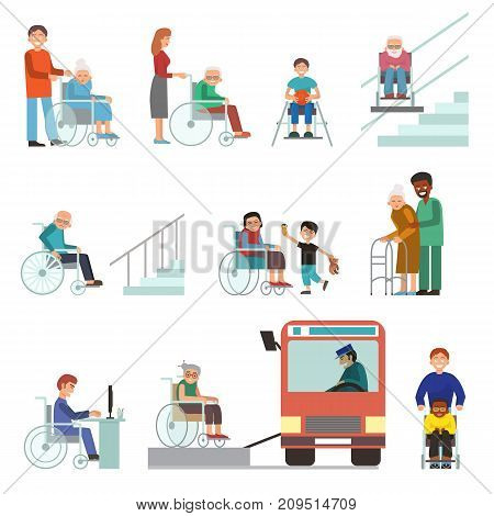 Disabled handicapped diverse people wheelchair invalid person help disability characters vector illustration. Support life disable medical assistance.