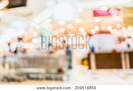 Blurred Background, Customer Shopping At Shopping Mall With Bokeh Light