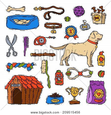 Cartoon dog accessory grooming canine animal pet toy equipment set veterinary play tool vector illustration. Domestic puppy care accessary.