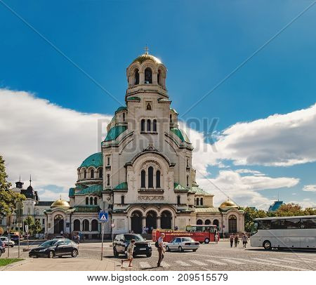 Sofia, Bulgaria - September 12, 2017: St. Alexander Nevsky Cathedral is a Bulgarian Orthodox cathedral in Sofia Bulgaria. It is known as one of Sofia's symbols and primary tourist attractions.