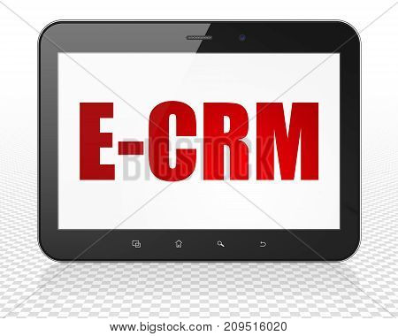 Business concept: Tablet Pc Computer with red text E-CRM on display, 3D rendering