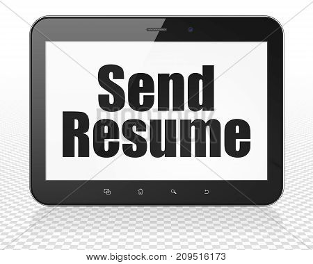 Finance concept: Tablet Pc Computer with black text Send Resume on display, 3D rendering