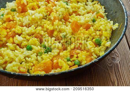 Spanish Vegetarian Pumpkin Paella  , close up meal