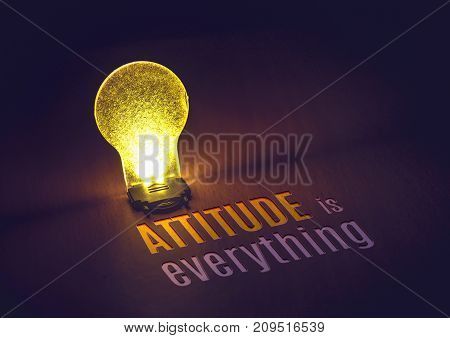 Inspiration Quote,attitude Is Everything Word With Lightbulb On Table In Dark Room ,motivational Typ