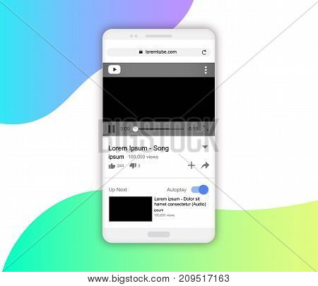 Realistic white smartphone mockup vector illustration. Smartphone video player screen portrait mode empty screens. Media video player network template design on smartphone screen. Video player vector concept.