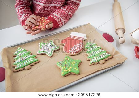 Close up of hands of little girl taking cookie in shape of star from tray. She is standing at table in kitchen. Christmas preparation concept