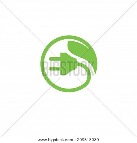 green energy Electrical plug, Eco Energy power Logo circle abstract design vector template