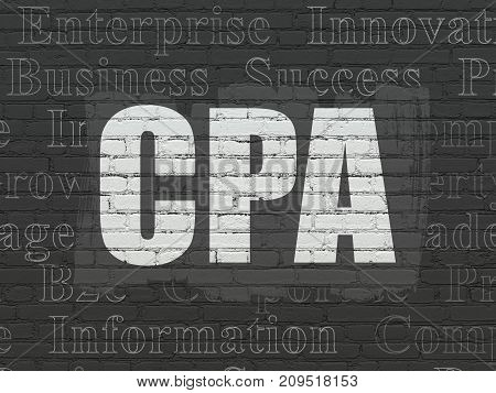 Business concept: Painted white text CPA on Black Brick wall background with  Tag Cloud