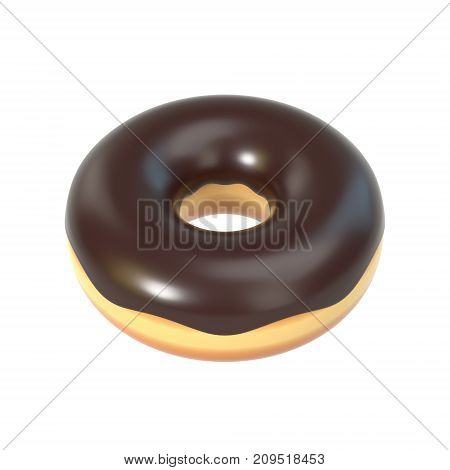 Delicious colorful donut with chocolate icing, sprinkles. Macro view of sweet american dessert isolated on white background. Graphic design element for bakery flyer, poster, scrapbook. 3D illustration