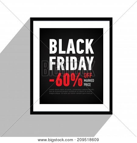 Black Friday sale poster on wall. Sale 60 off sitewide. Black banner in flat style. Shopping online. Advertising banner. Vector
