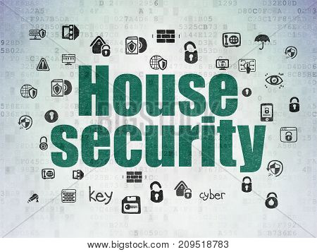 Protection concept: Painted green text House Security on Digital Data Paper background with  Hand Drawn Security Icons