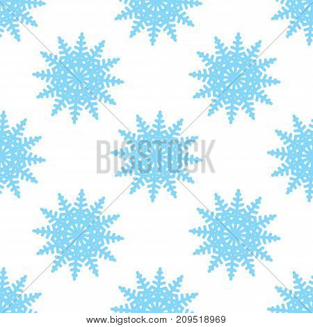 Symmetric minimalistic seamless pattern of snowflakes on a white background. Design in blue color. Vector illustration