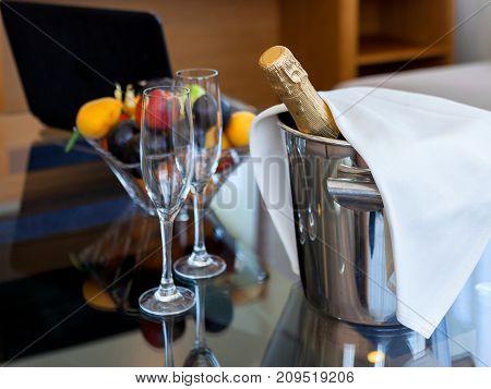 sparkling wine and glasses  celebrate, sparkling, romantic