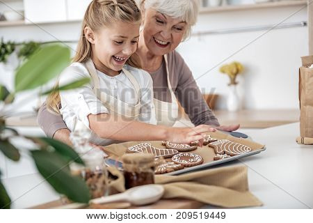 Cheerful granny is treating her granddaughter with fresh baked Christmas cookies. Girl is taking one from tray with excitement poster