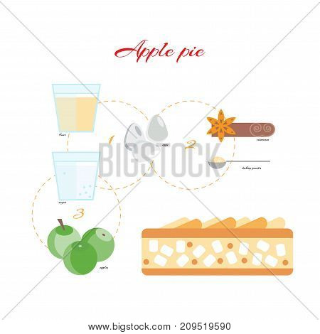 The recipe for Apple pie. Charlotte. Vector illustration in flat style.