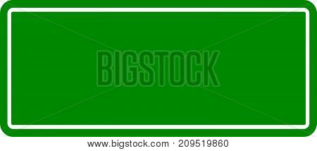 Blank green color square transporation sign on white background for add wording