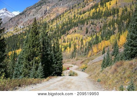 Fall Foliage over the mountains of Silveton, Colorado