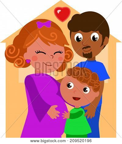 Cartoon ethnic family, pregnant mother with father and son. Vector illustration.