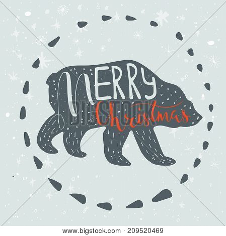 Christmas Illustration With Handdrawn Lettering. Funny Polar Bear With Quote Merry Christmas