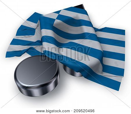 music note and flag of greece - 3d rendering