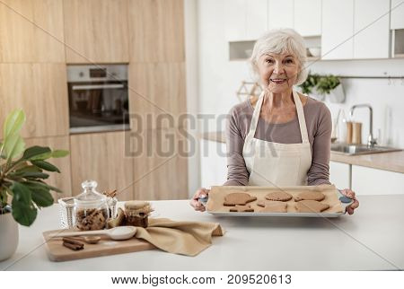 To special occasion. Portrait of happy old woman holding tray with self-made cookies in different shapes. She is standing in kitchen and smiling
