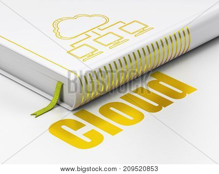 Cloud computing concept: closed book with Gold Cloud Network icon and text Cloud on floor, white background, 3D rendering