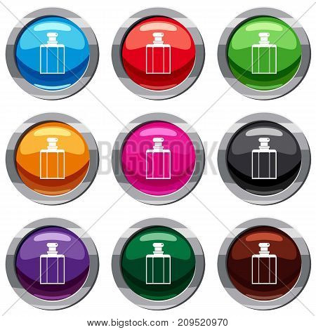 Bottle of female perfume set icon isolated on white. 9 icon collection vector illustration