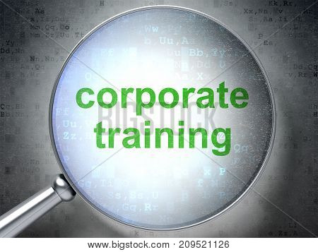 Learning concept: magnifying optical glass with words Corporate Training on digital background, 3D rendering