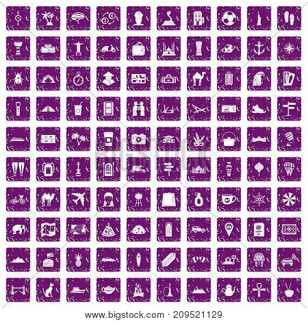 100 tourism icons set in grunge style purple color isolated on white background vector illustration
