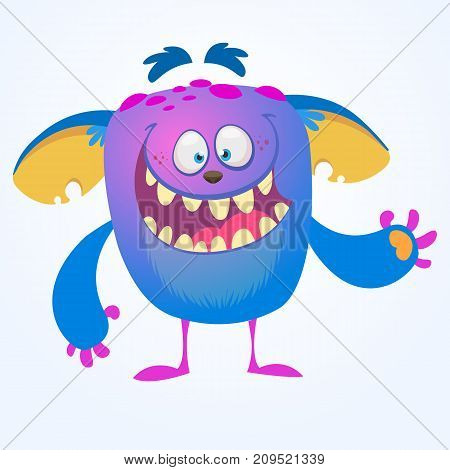 Crying cute monster cartoon. Blue adorable tiny monster troll gremlin or goblin crying with tear. Vector illustration for Halloween