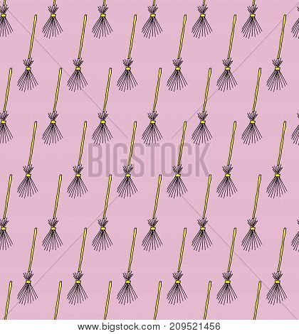 Halloween Witch Brooms - Vector Hand Drawn Doodle Seamless Pattern Background