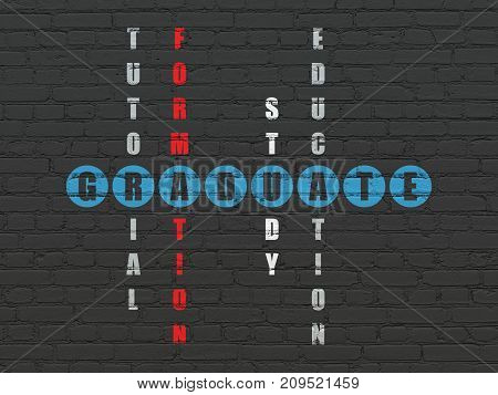 Learning concept: Painted blue word Graduate in solving Crossword Puzzle