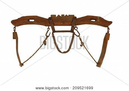 a isolated ancient yoke for wooden oxen