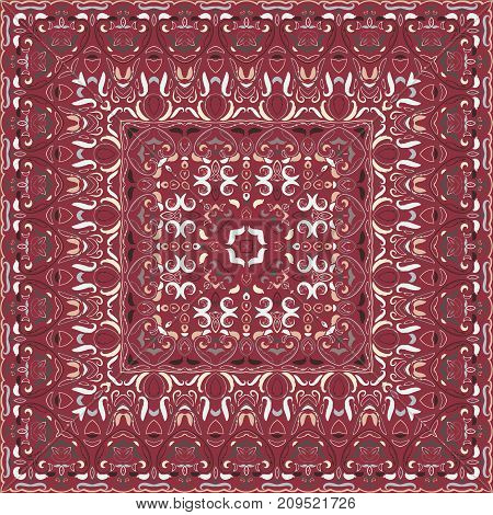 Red colored handkerchief with abstract pattern silk scarf or shawl.