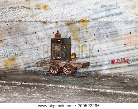 Prahova Romania October 04 2017 : An old trolley left from the time of salt extraction in salt mines in Slanic - Salina Slanic Prahova - in the town of Prahova in Romania.