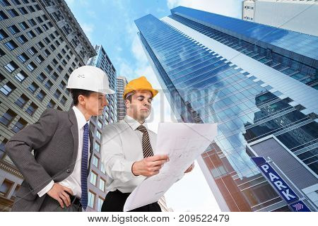 Two plan engineers group greeting happy business