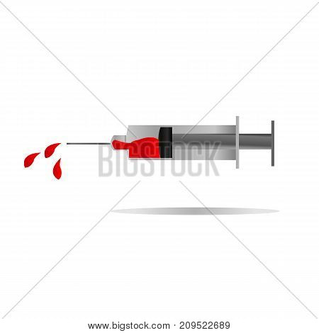 Injection filled with blood symbol for health care or aids day