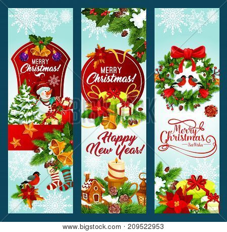 Christmas and New Year holidays banner. Xmas tree and holly berry wreath with snowflake, gift box, bell and ball, snowman, sock and ribbon bow, candle, cookie and poinsettia for greeting card design