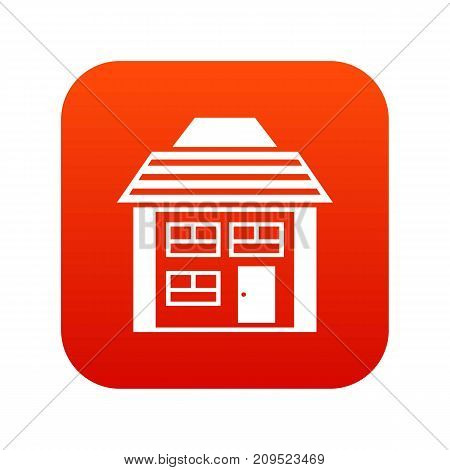 Two-storey house with sloping roof icon digital red for any design isolated on white vector illustration