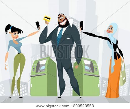 Vector illustration of arab businessman with a bank card