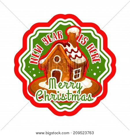 Christmas gingerbread house isolated label. Sweet home made of ginger cookie with candy and sugar icing decoration. Winter holidays dessert for Christmas and New Year festive design