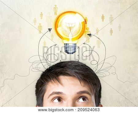 Man lamp think business person sign human