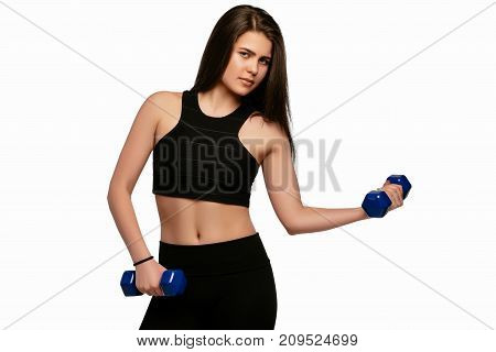 Beautiful Young Sporty Fitness Woman With Dumbbells